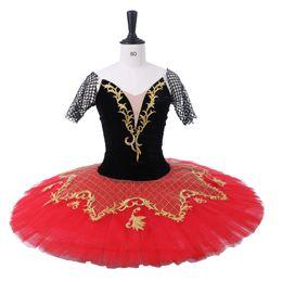 2019 tutu de ballet rojo Ballet clásico Tutu Vestidos de ballet Disfraces Tutus profesional Negro Paquita roja Princesa Kitri Don Quijote rebajas tutu de ballet rojo