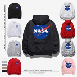 Sudadera rosa más el tamaño online-2018 venta al por mayor Hot NASA Hoodie Streetwear Hip Hop Khaki Negro gris rosado blanco con capucha Hoody Sudaderas con capucha para hombre Sudaderas S-XXL Tamaño Plus