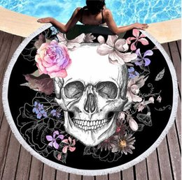 compressed beach towels Promo Codes - Women Large Bath Towel for Beach Thick Round 3d Sugar Skull Printed Beach Towel Fabric Quick Compressed Towel Tapestry Yoga Mat