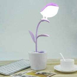 Wholesale Deco Birds - High Quality Creative Cute Birds on the Tree Shape LED USB Rechargeable Lamp Eye Protective Reading Lamp Penholder hot