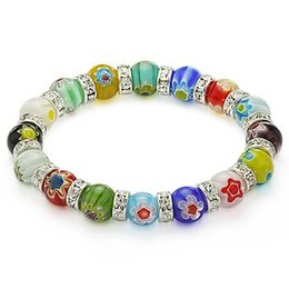 Gafas venecianas online-Venetian Millefiori Bead Lampwork Murano Glass Beaded Stretch Crystal Bracelet 10mm Mixed Colors Delivery