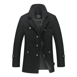 Wholesale single button pea coat - New Men 'S Autumn And Winter Wool Jacket Removable Quilted Lining Button Wool Blends Pea Coat Thick Padded Jacket Coat Men