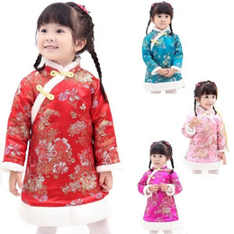 Wholesale Winter Feather Jacket Girls - Chinese Spring Festival Baby Girls Dress Coat Thick Quilted Winter Girl Clothes Chi-pao Dresses Children Cheongsam Qipao Jackets Outerwear