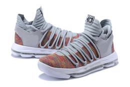 Wholesale Kevin Durant Low Tops - Hot KD 10 Multi Color shoes for sale Top Quality Kevin Durant FMVP Basketball shoes store free shipping US7-US12