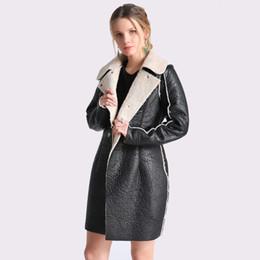 Wholesale wool coat leather sleeves women - Women's Autumn Winter Long Leather Jackets 2018 Long Sleeve Black Artificial Leather Lamb Wool Warm Coat 4XL Female Talever