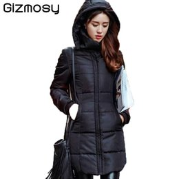 New Long Winter Down Jacket Women Slim Female Solid Coat Warm Cotton Clothes  Thicken Parka Red Hooded Jackets Student Wear SY280 ccdaf4f37