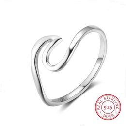 Wholesale silver wedding ring waves - New Real 925 Sterling Silver Simple Style Metallic Rings for Women Girls Wave Shaped Size Ring Gift Ideas For Her