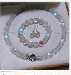 Серьги с бриллиантами онлайн-8 мм белый блестящий Радуга Лунный камень круглый бисер ожерелье + браслет + серьги Se