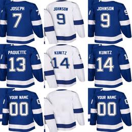 Cheap Mens Womens Kids Tampa Bay Lightning 7 Mathieu Joseph 9 Tyler Johnson  13 Cedric Paquette 14 Chris Kunitz Stitched Ice Hockey Jerseys c021782e1