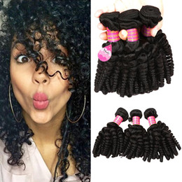 Wholesale Black Aunty - 8A Brazilian Aunty Funmi Hair Weave Bouncy Curls Unprocessed Peruvian Malaysian Cheap Human Hair Extension Bundles 3pc Lot for Black Women
