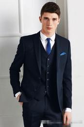 b40047f997f 2018 navy blue wedding suits peaked lapel grooms tuxedos sprom mens suits  slim groomsmen suit 3 pieces(coat+pants+vest+tie)