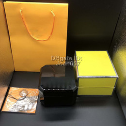 regalos de madera Rebajas La mejor calidad Cajas de madera de color negro Caja de regalo Caja de madera 1884 Folletos Tarjetas Caja de madera negra para reloj de lujo Incluye bolsa de certificado