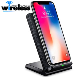 Wholesale Qi Wireless Charger Pad Eu - Desktop Fast Qi Wireless Charger stand pad 9V 1.67A 5V 2A 2 Coils For Iphone 8 X Samsung S8 note8 Qi-enabled Smartphones