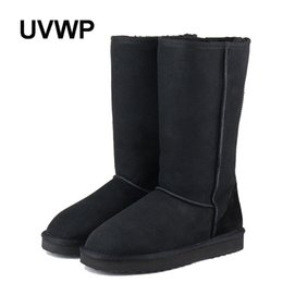 Wholesale grey long boots for women - UVWP 2017 Top Quality 100% Natural Fur Genuine Sheepskin Leather Snow Boots for Women Winter Shoes Warm Wool Long Snow Boots