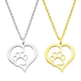Полые Пэт лапы след кулон ожерелье в форме сердца из нержавеющей стали золото любовник звено цепи для женщин Шарм ювелирные изделия оптом от