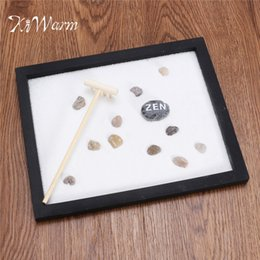 Wholesale modern tabletop decor - Kiwarm Modern Zen Garden Sand Kit Tabletop Yoga Meditation Sand Rocks Rake Feng Shui Decor Home Ornament Crafts