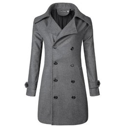 Nuovo boutique da uomo 2018 moda colore puro per il tempo libero nel collare stand lungo cappotto di lana panno di lana / giacca da uomo da