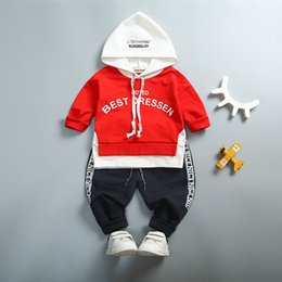 Wholesale quality infant clothing - Baby Boys Toddler Kids Cotton Clothing High Quality Clothes Letter Hooded Suit For Toddler Infant Long Sleeve 1-4Years Spring