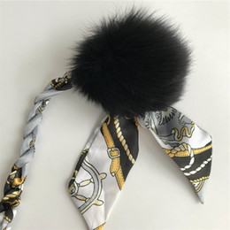 "Wholesale car ribbons - 8cm 3.1"" Black Real Genuine Fox Fur Pom Pom Ball W Silk Ribbon Rope Bag charm Car Keychain Pendant"