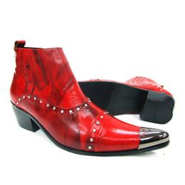 f2a748e8b54db9 Mode Rot Echtem Leder Männer Stiefeletten Metall Spitz Herren Formale Kleid  Schuhe High Top Botas Hombre Cowboy Boot