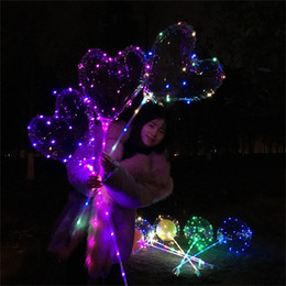 Wholesale heart shape balloon decoration - Transparent Heart Shaped Balloon 18 Inch LED Luminous Balloons With Light String Wedding Party Decorations Valentines Day C R