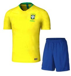 Wholesale National Uniforms - 2018 world cup kit Brazil Soccer Jerseys Sets NEYMAR JR soccer kits COUTINHO G.JESUS Brasil national team home yellow Football uniform suits