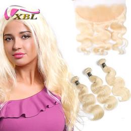 2019 salons de coloration XBL Extensions De Cheveux Vague De Corps 613 Blonde Blocs De Cheveux Humains avec Fermeture 3 Bundles Avec 13x4 Dentelle Frontale Pour Salon De Cheveux salons de coloration pas cher