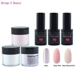 Wholesale French Manicure Tools - 6 in 1 French Manicure Dipping Powder Tool Kits Set 10g Box 10ml Base Coat Top Coat Activator Dip Powder Nails Natural Dry