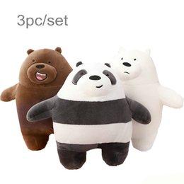 3 unids / lote 27 cm Kawaii Peluche de Dibujos Animados Oso de Peluche Grizzly Gris Oso Blanco Panda Muñeca Niños Amor Regalo de cumpleaños desde fabricantes