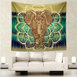 Wholesale Elephant Carpet - Enipate Indian Elephant Tapestry 150*130 CM Aubusson Colored Printed Decor Mandala Tapestry Religious Boho Wall Carpet Living Room Blanket
