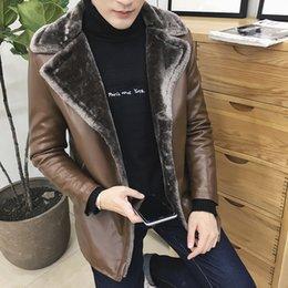 Wholesale Slim Large Lapel Coat - Wholesale- winter thicken fur large lapel male plus velvet leather jacket men's clothing leather coat slim fleece Leather Suede size 8XL
