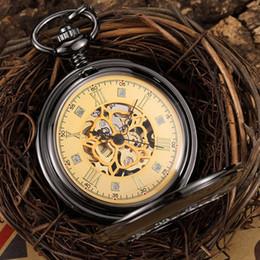 2019 horloge à main noire Vintage Main Vent Mehanical Montre De Poche Hommes Noir Steampunk Squelette Fob Poche Chaîne Montre Collier Pendentif Horloge De Luxe horloge à main noire pas cher