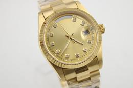 Loja de ouro 18k on-line-Desconto de ouro 18k 36 milímetros de luxo dos homens assistir DAYDATE 118238A-83208 série pulseira original safira relógio movimento automático free shopping