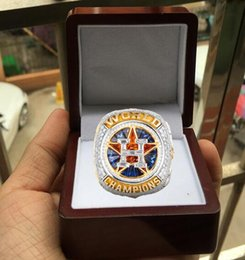 Wholesale mixed stones - 2017 2018 Series Houston Astros World Baseball Championship Ring With Wooden Display Box Fan Men Gift Wholesale Drop Shipping