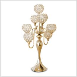 ghirlande di perle di vetro Sconti Candela in metallo argento / oro Candela portacandele in metallo per matrimonio Candelabri centrotavola Propsr Candelabro X-mas H / 69cm