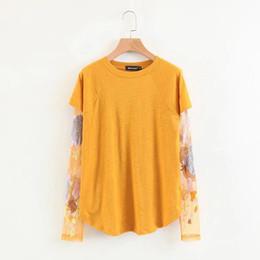 e903ad25ad4 Miyahouse bordado floral Mesh Lady T-Shirt Primavera Otoño Mujeres  Camisetas de manga larga Casual O-cuello de gran tamaño Tops sueltas Niñas  Ofertas de ...
