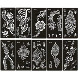 Argentina 80 estilo elegir aerógrafo plantilla de tatuaje de henna para mujer mano dedo pintura corporal Gilrs glitter tatuaje pegatinas plantillas 18 X 8.5 cm supplier x 18 Suministro