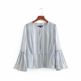 Canada 2018 nouvelles femmes vintage rétro dentelle broderie patchwork rayé lin occasionnel blazer costume entreprise porter outwear manteau tops CT073 supplier embroidery lace linen Offre