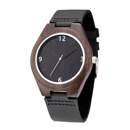 Мужские часы из черного дерева онлайн-WEISIKAI Fashion Wooden Design Mens Womens Watches Casual Simple Leather Quartz Watch Scale Black Dial Wood  Wristwatches
