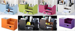 Wholesale Office Supplies Desk Accessories - School & Office Supplies Desk Accessories & Organizer Pen Holder Leathe9colors choose r Material black and brown two colors