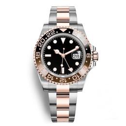 0b2ccb6e18c New Cerâmica Bisel GMT II AAA Relógios de Luxo Da Marca Relógio Automático  de Prata de Ouro Rosa Fecho Original Mens Moda Masculina Reloj Relógios  Senhoras