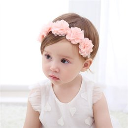 Wholesale gril baby - Baby Flower Headband Pink Ribbon Hair Bands Hair accessories for Children newborn gril Photo props headband