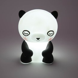 Wholesale Cartoon Panda Lamp - 2018 Led Night Decor Cute Panda Led Night Light Animal Marquee Lamps On Wall For Children Party Bedroom Decor Kids Gifts