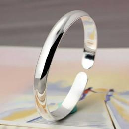Wholesale Girls Wrist Bands - Fashion Silver Open Bangle Cuff Smooth Bracelets Wrist Band For Women Girls Fashion Jewelry Gift 320024