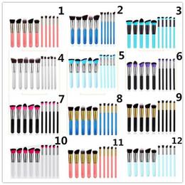 Wholesale Wholesale Makeup Brush Tops - 10pcs set Kabuki Makeup Brushes Set Tools Cosmetic Facial Makeup Brush Tools With Nylon Hair Makeup Top Quality 22 styles in stock 100 set