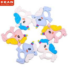 Wholesale Fedex Toys - Unicorn Baby silicone teether Toys FDA BPA FREE Maternity Food grade chewable Teething toys Teethers 2018 new arrival FEDEX free