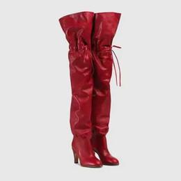 black lace up pumps mulheres Desconto Designer de luxo Da Lona Das Mulheres Sobre O Joelho Botas Lace Up Coxa Botas Altas De Salto Alto Palavras Imprimir Bombas Preto Vermelho Partido Prom Sapatos