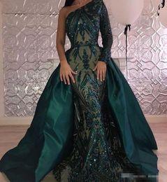 2019 vestido de cocktail de pena de ouro Verde escuro Superiores Saias Vestidos de Baile de Luxo Lantejoulas Frisado De Cetim Trem Destacável Formal Evening Vestido de Um Lado Longo Sleevs Vestido de Festa