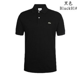 Wholesale Cotton Casual Shirts - Business Office Polo Shirt 2018 New Brand Men Clothing Solid Mens Crocodile Embroidery Polo Shirts Casual Poloshirt Cotton Breathable S-5XL