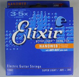 Wholesale Musical Instrument Accessories - Elixir 12002 Nanoweb Ultra Thin Coating Electric Guitar Strings Super Light .009--.042 Musical Instruments Accessories Parts